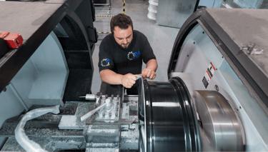 Image of Wheel Technician on Diamond Cut Lathe