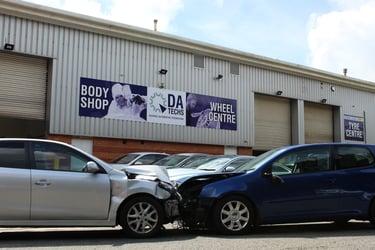 Car crash in front of DA Techs