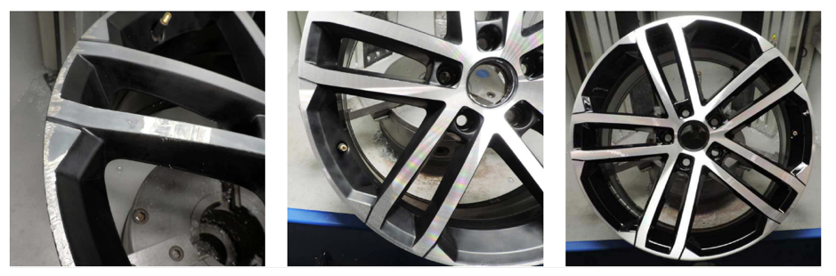 before and after photos of diamond cut alloy wheels