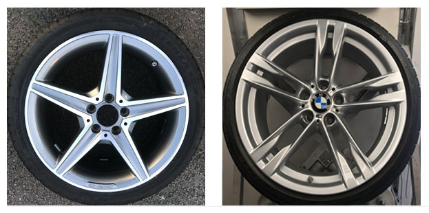Diamond cut alloy wheels and painted wheels