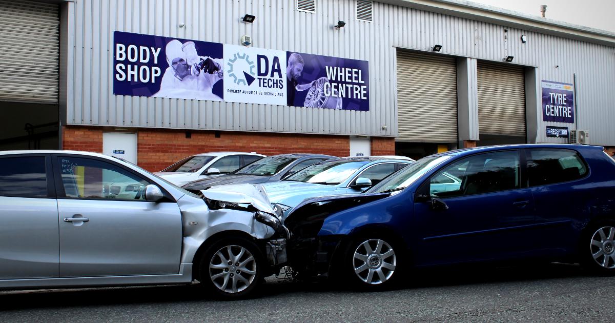 Car accident outside DA Techs Diverse Automotive Technicians